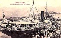 Посадка на пароходъ на молу